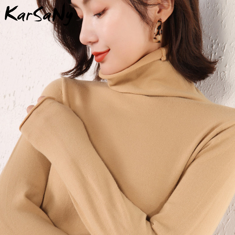 Turtleneck Sweater Jumper Women Blue 2019 Autumn Winter Fashion Knitted Green High Neck Sweater Female Top Quality Sweaters