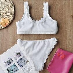AGOUTI Sexy prążkowany kostium kąpielowy damski Bandeau bikini set 2020 solidny biały strój kąpielowy kobiety strój kąpielowy kąpiących strój kąpielowy nowy 6