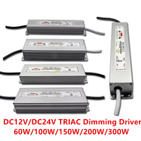 DC12V 24V Power Supply Electronic Transformer Triac Dimmable Led Driver 60W 200W IP67 waterproof AC170 264V Dimming