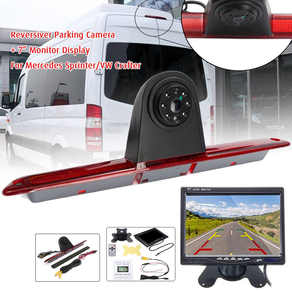 Car CCD Reversing Rear View Camera LED Brake Light Parking Night Vision Backup For Mercedes Benz Sprinter VW Crafter