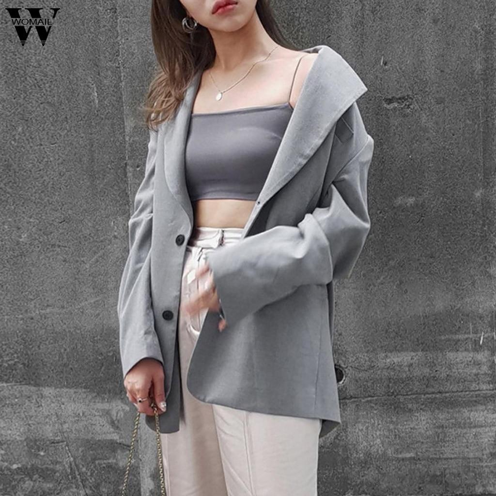 Womail   Jacket   Women autumn Fashion Lapel Female   Jackets   Long Cardigan   Basic     Jacket   outfit Gray Overcoat jaqueta feminina Outwear