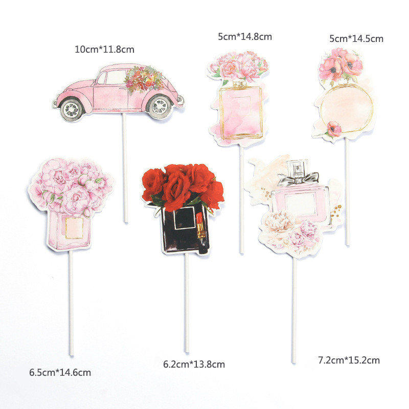 New perfume car lady girl Cake Topper Lipstick bag cosmetics birthday party cupcake toppers happy birthday dessert Cake decor-3