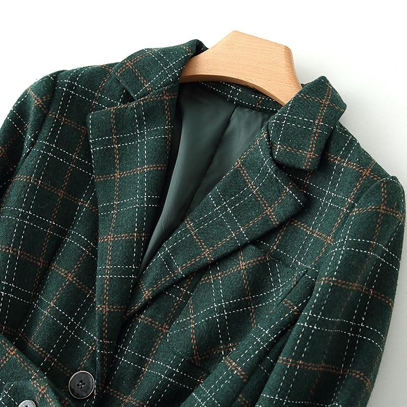 Plus size women's autumn and winter professional suit pants two-piece suit woolen plaid female jacket Slim pants high quality