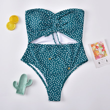 цена на 2020 New Sexy Off The Shoulder Polka Dot Swimwear Women One Piece Swimsuit Female Bathing Suit Monokini Swim