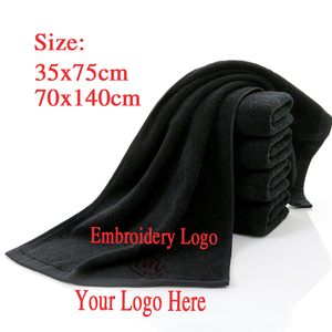 Image 4 - Toalla facial negra de algodón para peluquería, sin decoloración personalizada con bordado Toalla de baño, toalla de Playa Grande para hombre, regalo corporativo