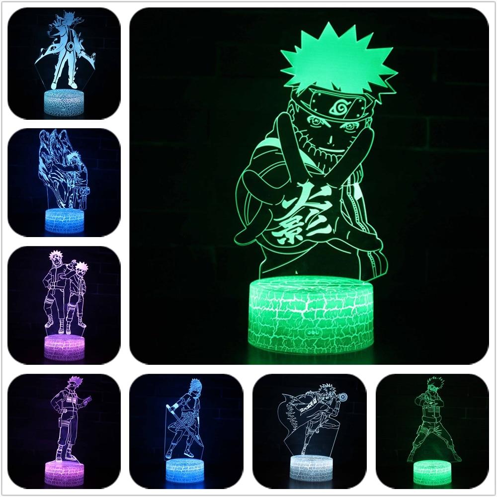 3D Uzumaki Naruto Hokage Hatake Kakashi Uchiha Sasuke Hyuga Neji Gai Tsunade Gaara Itachi 7 Color Lamp Touch Lampe Nightlight