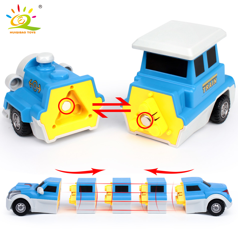 10PCS Construction Engineering Excavator Magnetic Building Blocks DIY Magic Train Truck Vehicle educational Toys For Children 4