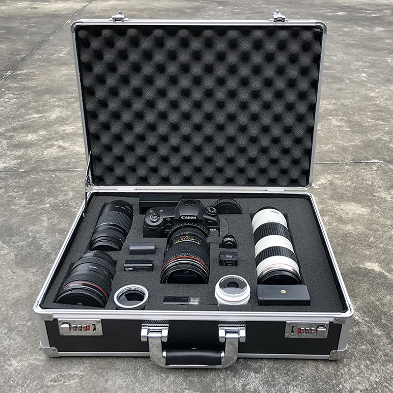 Aluminum Tool Case Suitcase Digital Lens Moistureproof Box Impact Resistant Toolbox Equipment SLR Camera Box With Pre-cut Foam