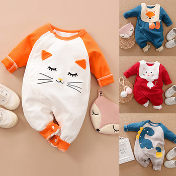 Newborn Baby Girl Clothes Organic Cotton Overalls Winter For Children New Born Boy Kids Clothing Bodysuit Cat Costume Things image