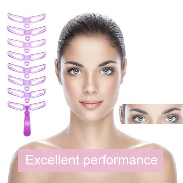 8pcs Eyebrows Stencil 8 Styles Eyebrow Shaping Grooming Kit Template  Helper Maquiagem Profissional Completa трафарет для бровей 3