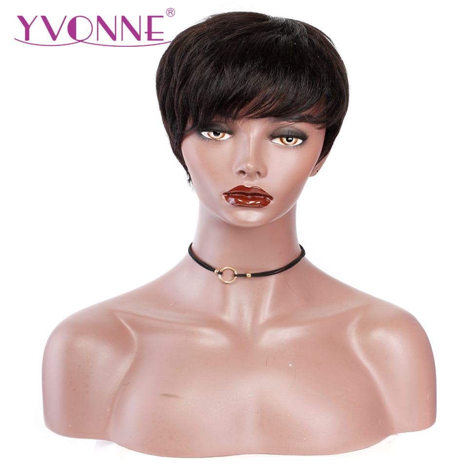YVONNE Short Straight Pixie Cut Wig With Bangs For Women Brazilian Virgin Hair Machine Made Wigs With Natural Color