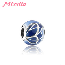 MISSITA 2019 NEW Blue Butterfly Wing Beads fit Pandora Charm Bracelet DIY Jewelry Women Accessories Gift