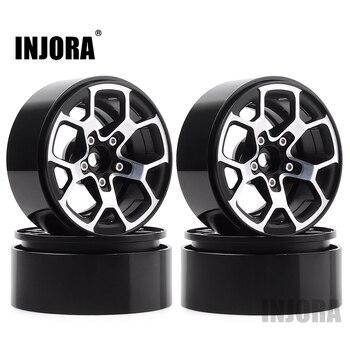 "INJORA 4PCS 2.0"" Metal Beadlock Wheel Hub Rim Fit 1.9 Tires for 1/10 RC Crawler Axial SCX10 90046 D90 Jeep Wrangler 1"