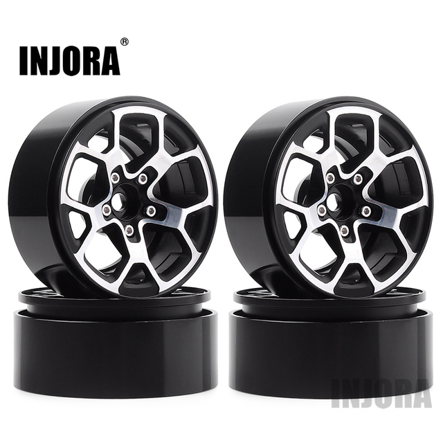 "INJORA 4PCS 2.0 ""금속 구슬 휠 허브 림 1.9 타이어 1/10 RC 크롤러 축 SCX10 90046 D90 TRX4 지프 랭글러"