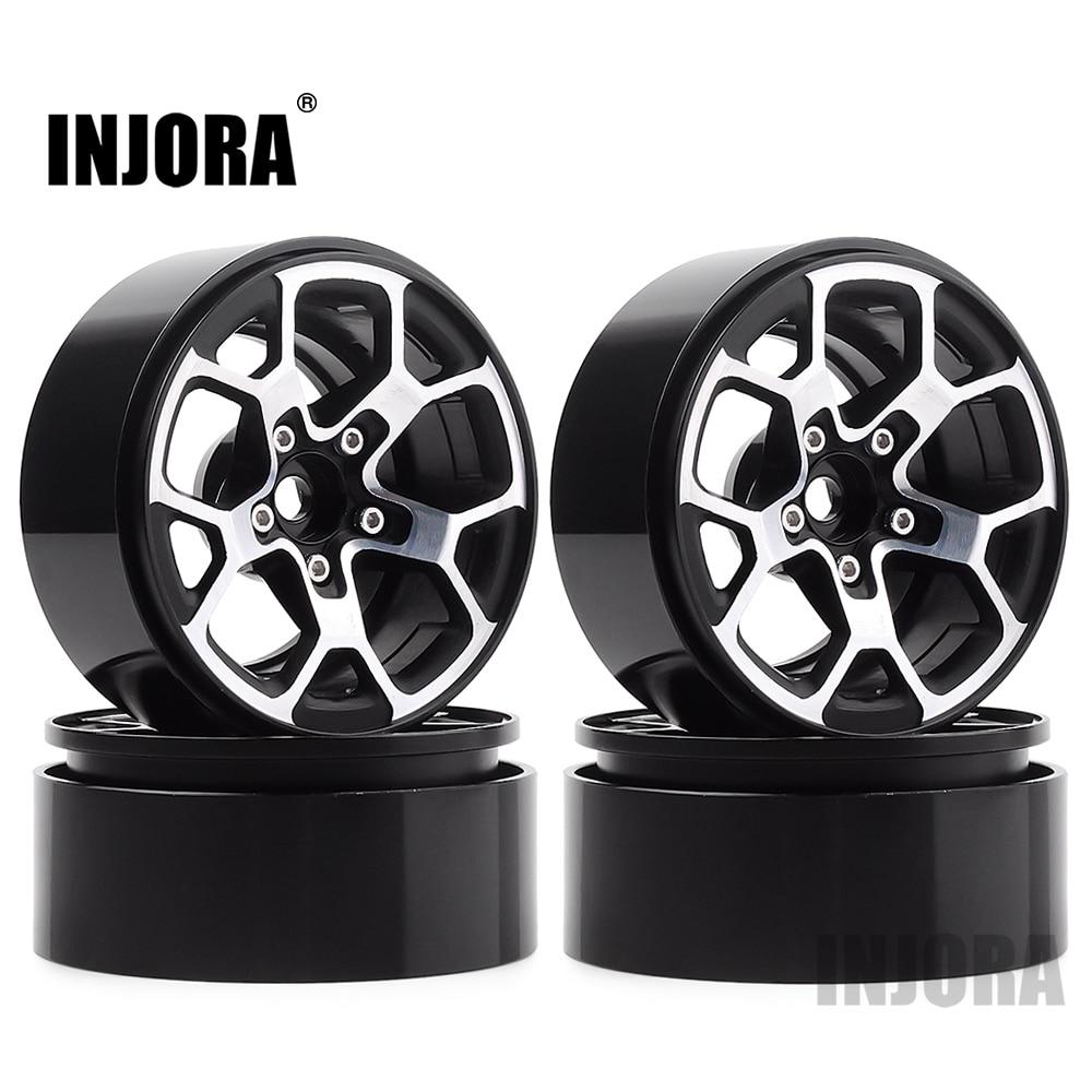 "INJORA 4PCS 2.0"" Metal Beadlock Wheel Hub Rim Fit 1.9 Tires for 1/10 RC Crawler Axial SCX10 90046 D90 TRX4 Jeep Wrangler(China)"