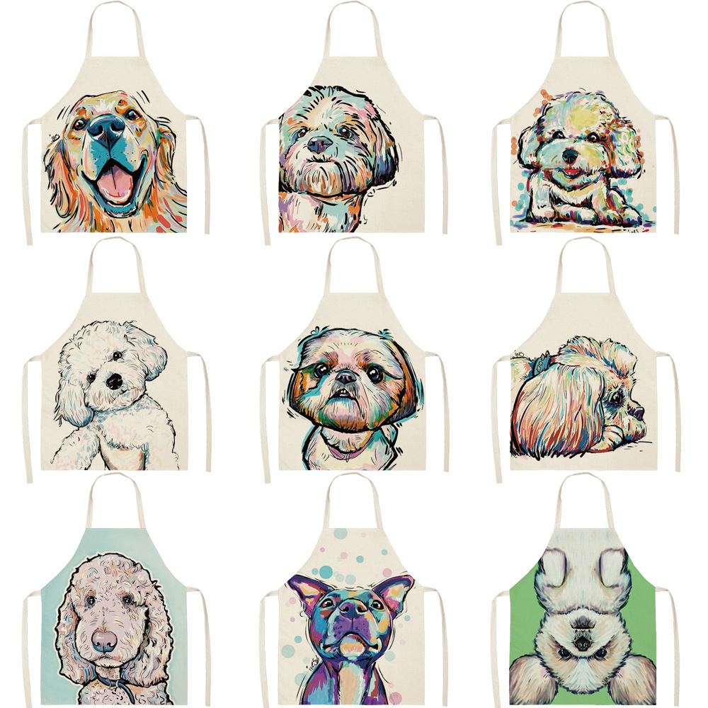Parent-child Kitchen Apron Cartoon Painting Dog Printed Sleeveless Cotton Linen Aprons For Men Women Home Cleaning Tools