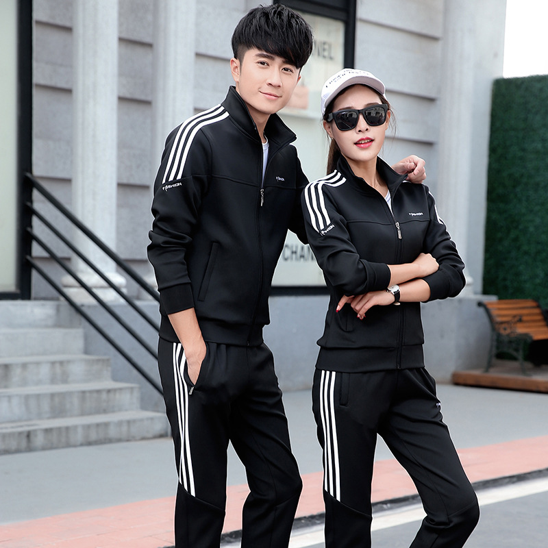 Young And Middle-aged Couples Casual Sports Clothing Men's Sports Set Women's Running Fitness Long Sleeve Group Clothes Two-Piec