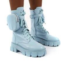 Женские ботинки с карманами синие на платформе брендовые Дизайнерские
