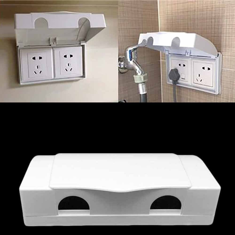 Waterproof White Double Socket Protector Electric Plug Cover Baby Child Safety Box UK Socket Protection Box Connected To The Box
