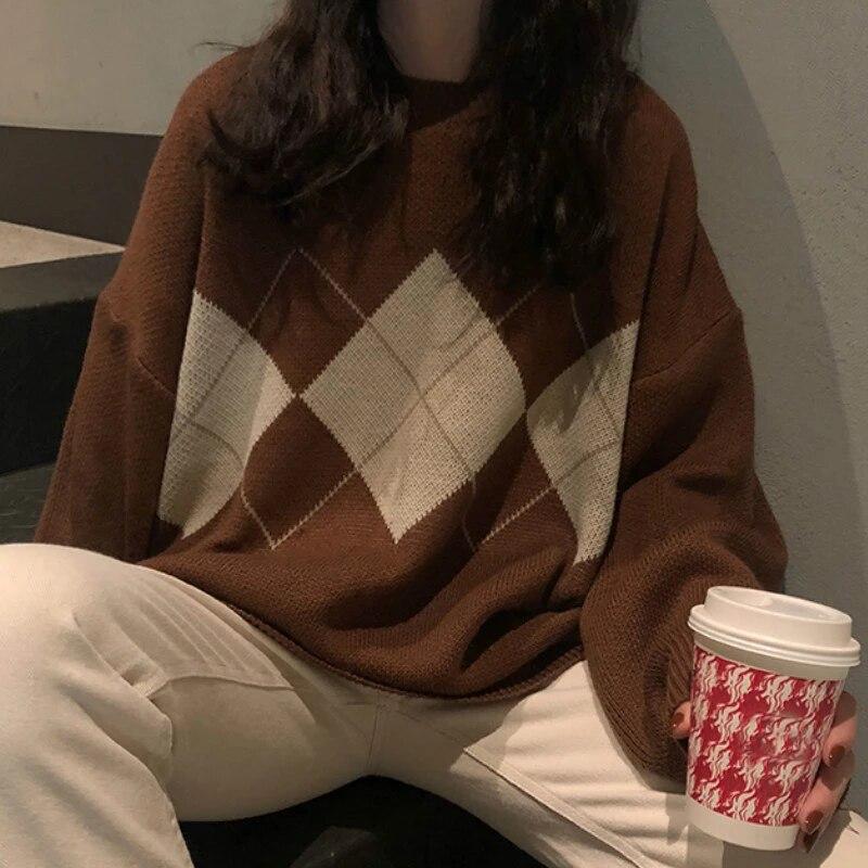 Suéter de punto para Mujer, jerséis de gran tamaño a la moda, suéter holgado de invierno, suéter coreano de estilo universitario, suéter para Mujer