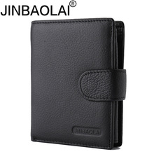 JINBAOLAI Brand Short Tri-Fold Hasp Pocket Wallet Men's Cash Dollar ID Credit Card Holder Purse Genuine Leather Coin Bag