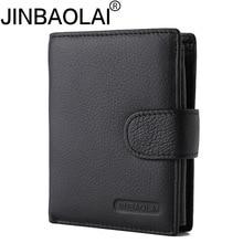 JINBAOLAI Brand Short Tri-Fold Hasp Pocket Wallet Men's Cash Dollar ID Credit Card Holder Purse Genuine Leather Coin Bag