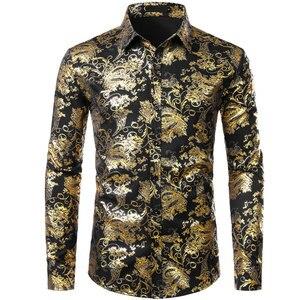 Image 2 - Chemises à fleurs pour hommes en or brillant coupe ajustée Chemise bronzante hommes mariage Club scène Chemise de bal Homme Chemise Homme Camisas Masculina XXL