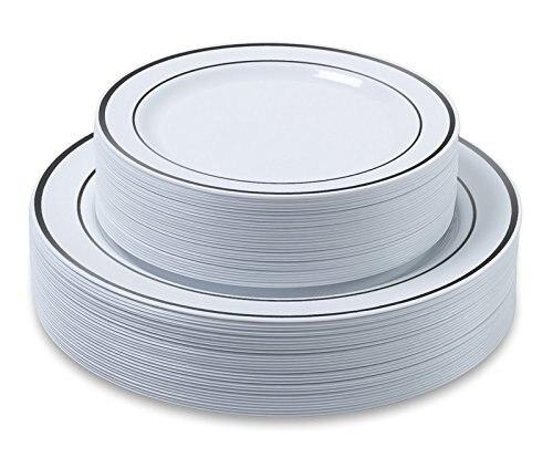 25PCS Silver Plastic Plates-Disposable Plastic Plates With Silver Rim- Plastic Wedding Party Plates Dinner Plates /Salad Plates