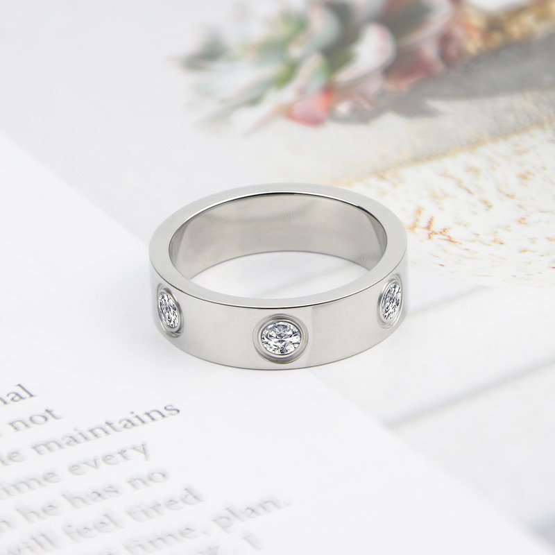 Luxury Shiny Rotating Circle Crystal Ring Stainless Steel Rose Gold Love Ring for Women Engagement gift Brands Ring 6