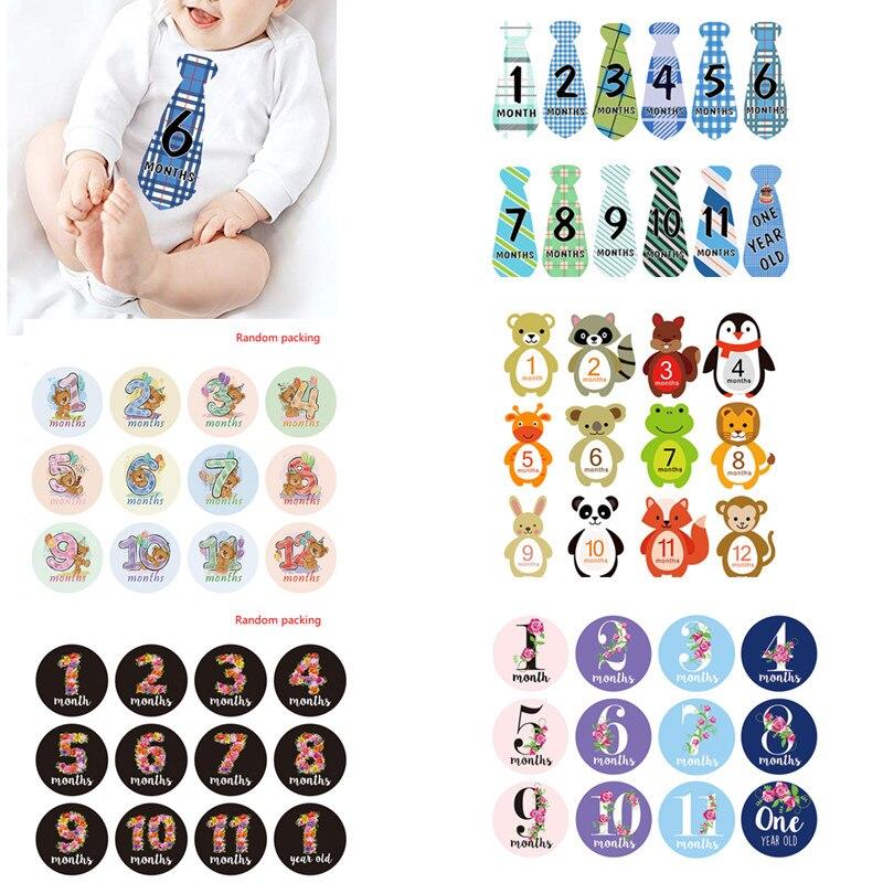 12 Pcs Monat Aufkleber Baby Fotografie Milestone Memorial Monatliche Neugeborenen Kinder Gedenk Karte Anzahl Foto Requisiten Zubehör