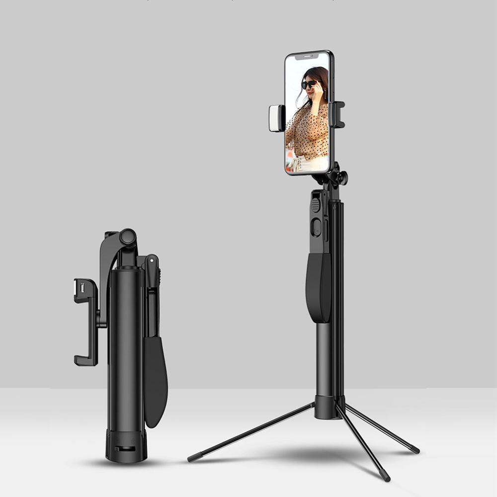 Portable Mobile Phone Selfie Stick With Bluetooth Remote Control Fill Light Tripod Live Stand Adjustable Shoot Video Stabilizer