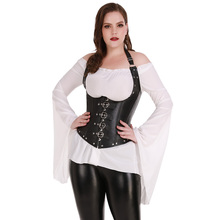 Sexy Vrouwen Lingerie G string steampunk Modieuze Tape Taille Training Corset Staal Uitgebeend Zwart Plus Size S 6XL