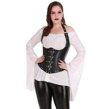 Sexy mulher lingerie g string steampunk elegante fita cintura treinamento espartilho aço desossado preto plus size S 6XL