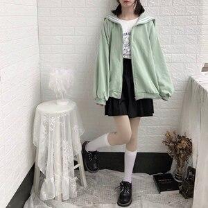 Image 5 - Kış Kawaii tatlı kız büyük boy Hoodie Streetwear Sailor yaka kazak kadınlar Harajuku fermuar giyim ceket siyah mavi