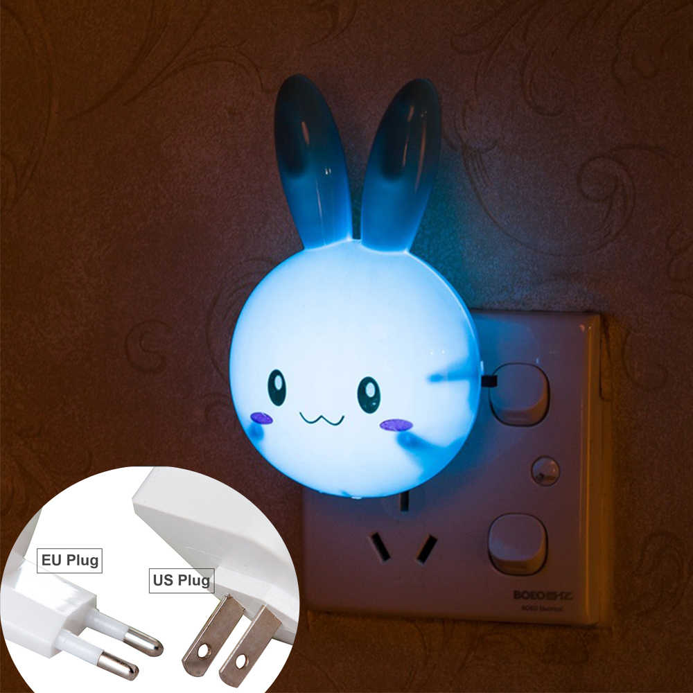 Rabbit Wall Night Lamp With US Plug Cartoon LED Night Light AC110-220V Switch Gifts For Kid/Baby/Children Bedroom Bedside Lamp