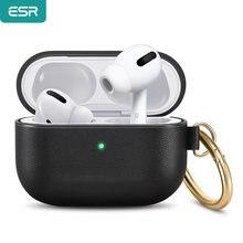 Esr caso do fone de ouvido para apple couro toque macio com gancho para cima capa à prova de choque para earpods pro caso de fone de ouvido luxo
