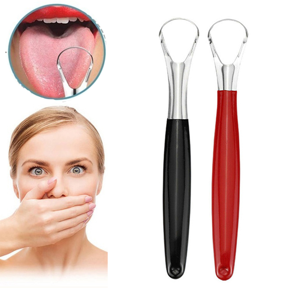 1 Pcs Tongue Scraper Reusable Portable Stainless Steel Oral Tongue Cleaner Brush Fresher Sweepers For Adults Oral Hygiene Care