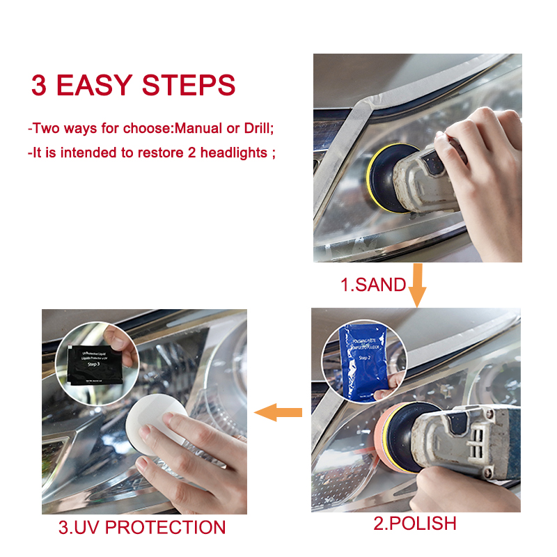 Image 4 - LuDuo Headlight Polish Restoration Kits Car Headlamp Polishing Cleaner Paste Care Wash Brightener Repair Paint Care with Cloth-in Polishing & Grinding Materials Set from Automobiles & Motorcycles