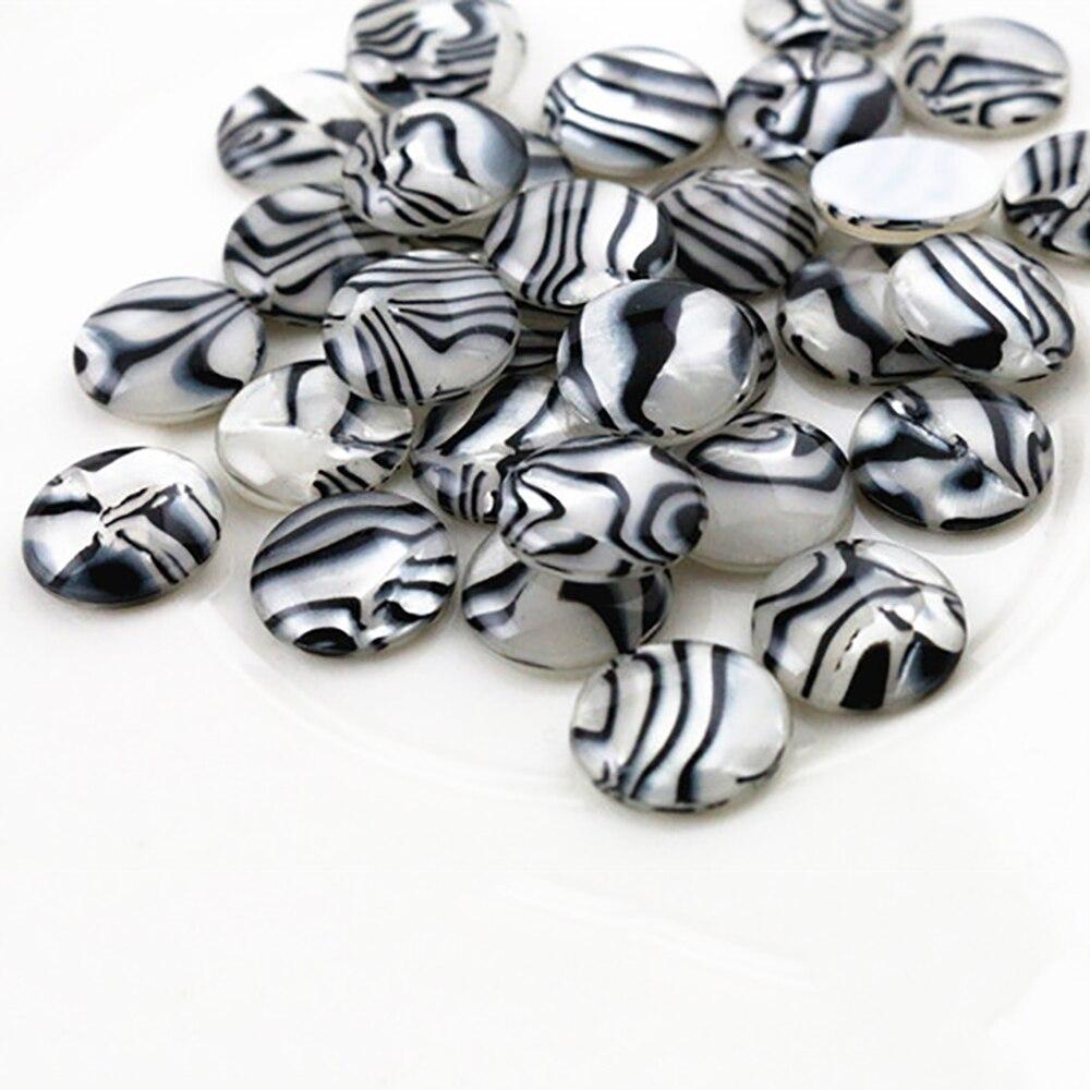 New Fashion 40pcs 12mm Zebra Style Color Flat Back Resin Cabochons Cameo  G7-42