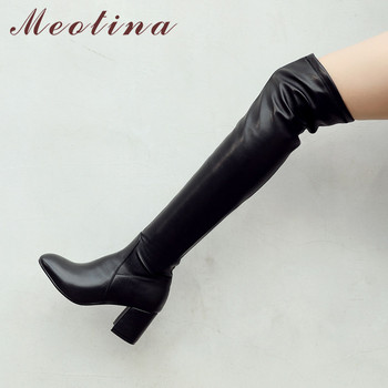 Meotina Winter Thigh High Boots Women Natural Genuine Leather Thick High Heel Over The Knee Boots Sexy Slim Stretch Shoes Ladies