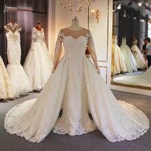Luxury 2 in 1 งานแต่งงานชุดเดรสลูกไม้ Mermaid งานแต่งงานชุดกระโปรงที่ถอดออกได้