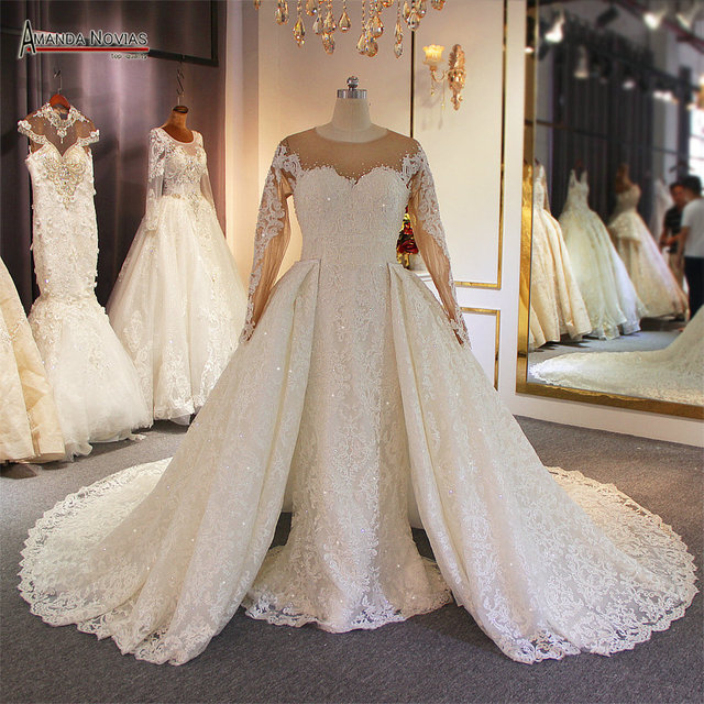 Luxury 2 in 1 wedding dress full lace mermaid wedding dress with detachable skirt