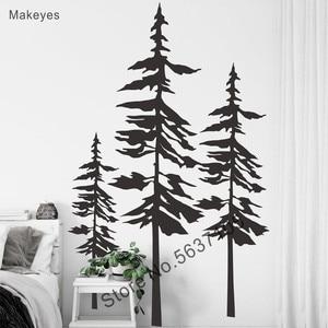 Наклейки на стены из сосновых деревьев с изображением леса, виниловые наклейки на стены для дома, детские комнаты, настенные художественные...
