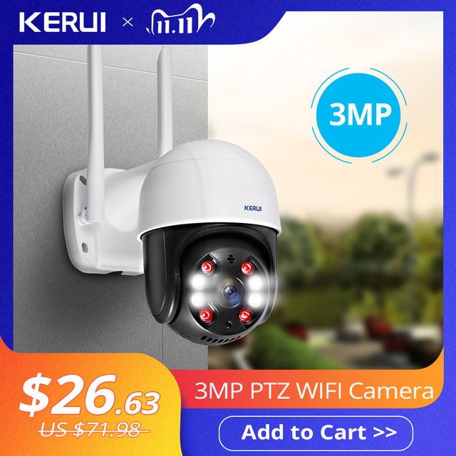 KERUI 야외 방수 무선 3MP 와이파이 IP 카메라 돔 4X PTZ 디지털 줌 IR 카메라 홈 보안 Onvif CCTV 감시