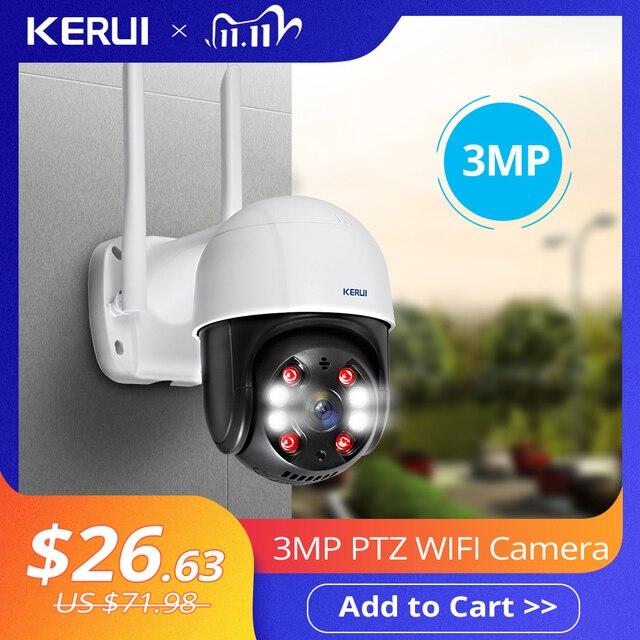 KERUI Ngoài Trời Chống Nước Không Dây 3MP WiFi IP Dome 4X PTZ Zoom Kỹ Thuật Số Hồng Ngoại Camera An Ninh Ngôi Nhà Onvif Camera Quan Sát