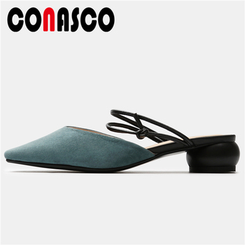 CONASCO Concise Elegant Women Sandals Narrow Band Casual Slippers Low Heels Shoes Woman Kid Suede Shallow Mules 2020 Summer New