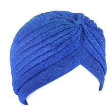 Caldo di Stile Indiano Musulmano Sottile Hijab Turbante Delle Donne di Modo Oro Lucido Turbante Nuovo Elastico Luminoso Morbido Cappello Cappelli Indiani Testa avvolge