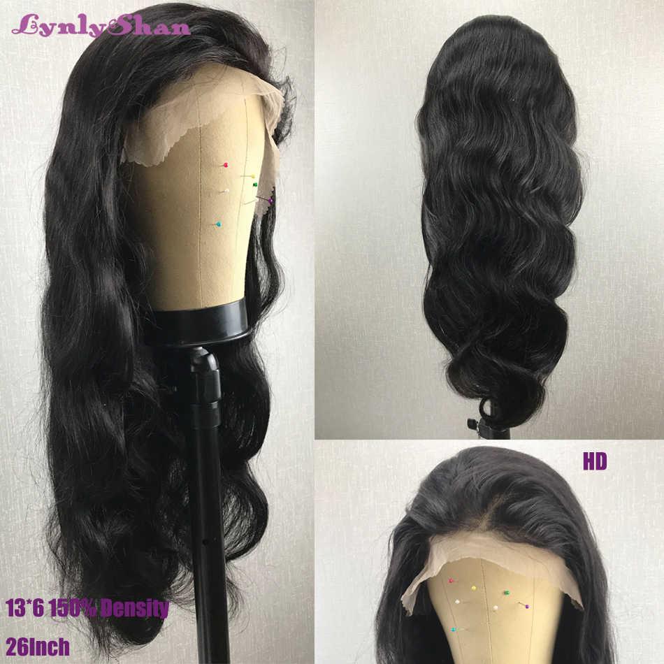 Onda do corpo peruca dianteira do laço 13x6 peruca de cabelo humano brasileiro remy cabelo 150% 180% densidade cor natural transparente perucas dianteira do laço