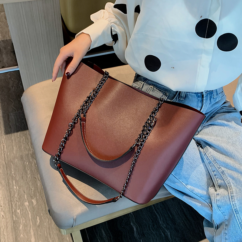Hifuar 2019 New Bags Women Simple Fashion Casual Shoulder Bag Handle Bag Bag Lady Big Capacity Leather Female Big Chain Tote