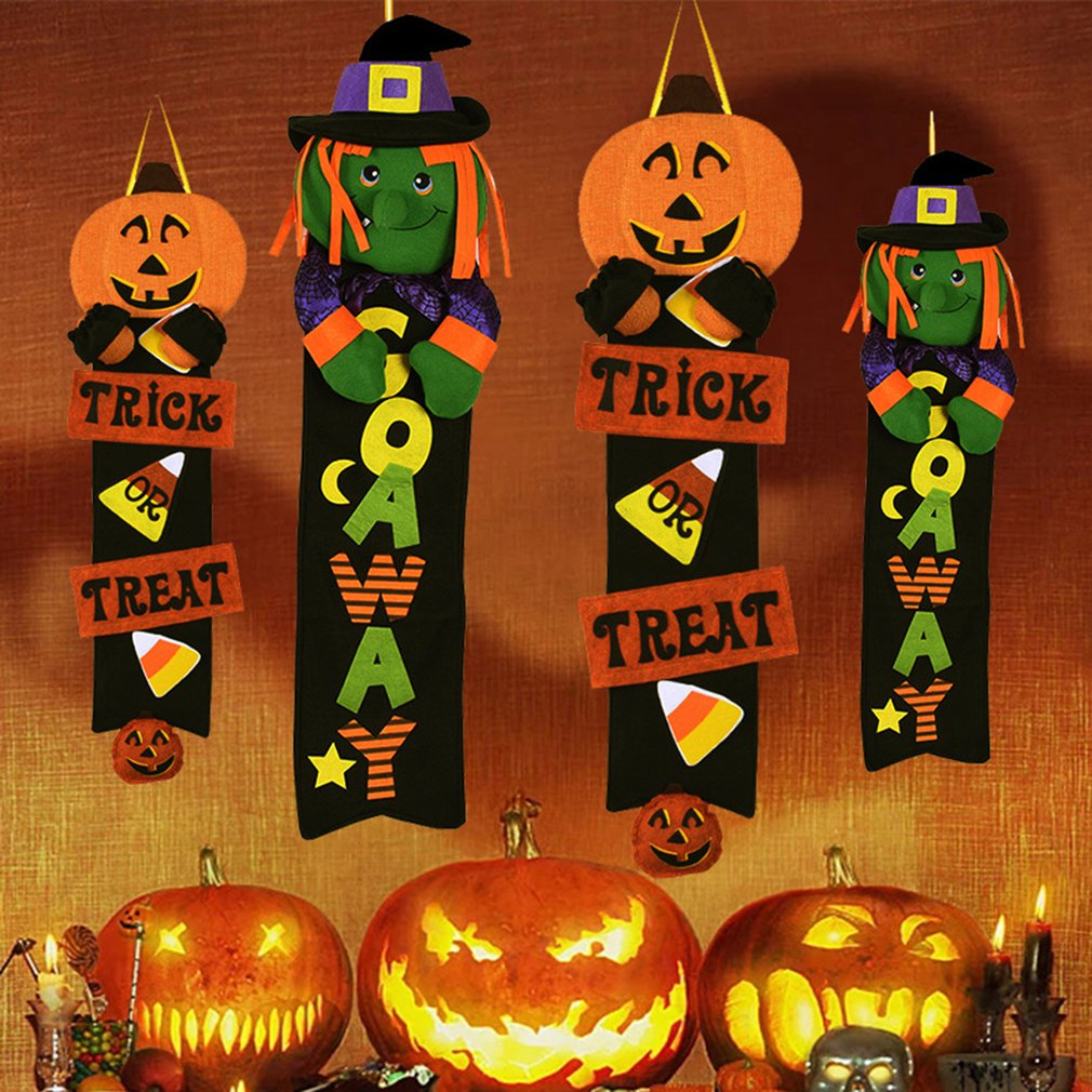 Halloween Layout Supplies Props Pumpkin Witch Door Hanging